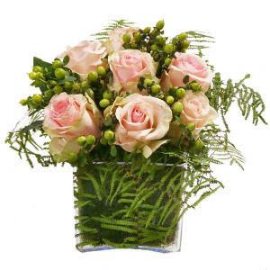Cubo de Rosas Cor de Rosa e Verde