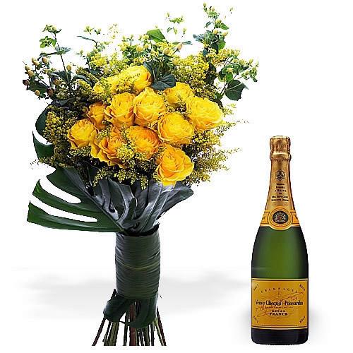 Bouquet de Rosas Amarelas Premium + Champanhe Veuve Clicquot