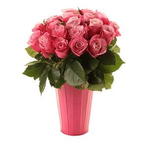 Vaso Alto de Rosas Cor de Rosa