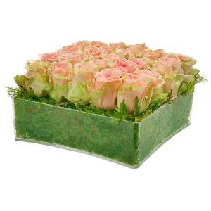 Quadrado de Rosas Cor de Rosa e Verde